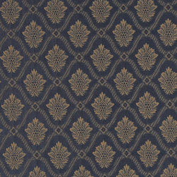 Navy And Gold Two Toned Brocade Medallion Upholstery Fabric By The Yard - Elegant jacquard fabrics are an excellent choice for stately rooms. This material combines a durable material, with an upscale look.