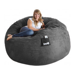 None - Round 6-foot Charcoal Grey Microfiber and Foam Bean Bag - Curl up in comfort or lie back for a nap on this grey microfiber and foam bean bag sack. Made from a durafoam blend that has a cotton/polyester inner lining and a washable microfiber cover,this bean bag is six-feet around and weighs 75 pounds.