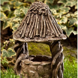 Campania International - Campania International Gnome Wishing Well Cast Stone Garden Statue - S-386-AL - Shop for Statues and Sculptures from Hayneedle.com! Encourage visits by helpful gnomes to your garden with the Campania International Gnome Wishing Well Cast Stone Garden Statue. This fun quirky garden statue is made in the USA from cast stone in your choice of patina finish.About Campania InternationalEstablished in 1984 Campania International's reputation has been built on quality original products and service. Originally selling terra cotta planters Campania soon began to research and develop the design and manufacture of cast stone garden planters and ornaments. Campania is also an importer and wholesaler of garden products including polyethylene terra cotta glazed pottery cast iron and fiberglass planters as well as classic garden structures fountains and cast resin statuary.Campania Cast Stone: The ProcessThe creation of Campania's cast stone pieces begins and ends by hand. From the creation of an original design making of a mold pouring the cast stone application of the patina to the final packing of an order the process is both technical and artistic. As many as 30 pairs of hands are involved in the creation of each Campania piece in a labor intensive 15 step process.The process begins either with the creation of an original copyrighted design by Campania's artisans or an antique original. Antique originals will often require some restoration work which is also done in-house by expert craftsmen. Campania's mold making department will then begin a multi-step process to create a production mold which will properly replicate the detail and texture of the original piece. Depending on its size and complexity a mold can take as long as three months to complete. Campania creates in excess of 700 molds per year.After a mold is completed it is moved to the production area where a team individually hand pours the liquid cast stone mixture into the mold and employs special techniques to remove air bubbles. Campania carefully monitors the PSI of every piece. PSI (pounds per square inch) measures the strength of every piece to ensure durability. The PSI of Campania pieces is currently engineered at approximately 7500 for optimum strength. Each piece is air-dried and then de-molded by hand. After an internal quality check pieces are sent to a finishing department where seams are ground and any air holes caused by the pouring process are filled and smoothed. Pieces are then placed on a pallet for stocking in the warehouse.All Campania pieces are produced and stocked in natural cast stone. When a customer's order is placed pieces are pulled and unless a piece is requested in natural cast stone it is finished in a unique patinas. All patinas are applied by hand in a multi-step process; some patinas require three separate color applications. A finisher's skill in applying the patina and wiping away any excess to highlight detail requires not only technical skill but also true artistic sensibility. Every Campania piece becomes a unique and original work of garden art as a result.After the patina is dry the piece is then quality inspected. All pieces of a customer's order are batched and checked for completeness. A two-person packing team will then pack the order by hand into gaylord boxes on pallets. The packing material used is excelsior a natural wood product that has no chemical additives and may be recycled as display material repacking customer orders mulch or even bedding for animals. This exhaustive process ensures that Campania will remain a popular and beloved choice when it comes to garden decor.Please note this product does not ship to Pennsylvania.