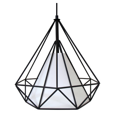 "Lumisource - Hedron Pendant Lamp, Black and White - 14"" L x 14"" W x 16"" H      Cord length: Up to 54"""