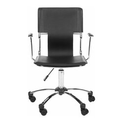 Safavieh - Nikiti Desk Chair - The adjustable Nikiti Desk Chair is a posh postmodern spin on the modern office chair. Crafted with metal frame, rubber wheels and black PVC leather, its spare lines and graphic form bring the right angle to any meeting.