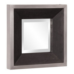 "Howard Elliott - Jackson Black Wood Grain Veneer Square Mirror - Black Wood Grain Veneer with Brushed Aluminum Square Mirror Frame Frame Dimensions: 14""W X 14""H X 2""D; Mirror Dimensions: 8""W X 8""H; Finish: Black Wood Grain Veneer with Brushed Aluminum; Material: Wood; Beveled: Yes; Shape: Square; Weight: 6 lbs; Included: Brackets, Ready to Hang Vertically or Horizontally"