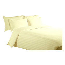 300 TC Duvet Cover with 1 Fitted Sheet Striped Yellow, Queen - You are buying 1 Duvet Cover (88 x 88 inches) and 1 Fitted Sheet (60 x 80 inches) only.