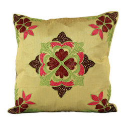 Banarsi Designs - Floral Embroidered Pillow Cover, Set of 2 (Light Gold) - The Floral Embroidered Pillow Cover Set of 2 from Banarsi Designs is available in beautiful and vivid colors. Crafted in India, our accent pillow covers incorporate a unique embroidered floral pattern using a combination of color tones. Zippers allow for easy removal and the 16 X 16 size fits most throw pillows in your home.   Perfect for decorating your living room, guest rooms and bedrooms.