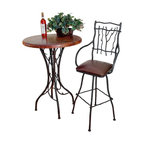 """Mathews & Company - South Fork 36"""" Counter Table with 30"""" Round Top - Spice up a room in your home with this lovely South Fork 36"""" Counter Table. Notice how the hand-wrought pieces of iron intertwine to form beautiful patterns that support the table top. These artistically formed vines add personality and beauty to this piece of furniture. Choose from a variety of table tops which include an elegant marble, an artistic copper, and a homey pine to make this table your own. Match your other home decor by choosing from several different iron finishes. Pictured in Copper top and Black finish."""