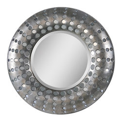 Ren-Wil - Splendid Circular Mirror - This regal mirror shines with its small circular polished mirrors embedded throughout the frame which is finished in an antique silver and surrounds a round beveled center mirror.