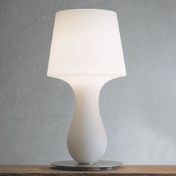 Produzione Privata - Fata Table Lamp | Produzione Privata - Design by Michele de Lucchi.Imported from Italy.Produzione Privata is Michele de Lucchi's label of artisan-produced lighting and furnishings, making use of Italian strengths in blowing glass and metal work.An elegant satin finish blown white Murano glass diffuser sits atop a painted-finish metal base. On/off switch located on cord. Design by Michele de Lucchi.