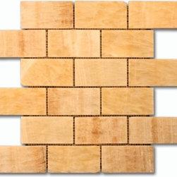Honey Onyx 2x4 Brick pattern stone mosaic - honey onyx 2x4 stone brick pattern mosaic polished