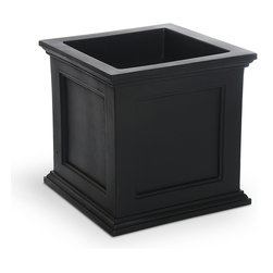 Mayne Black Plastic Outdoor Planter - Classic planter boxes dress up doorways and stoops when filled with seasonal flowers, or even boxwoods or other types of shrubs.