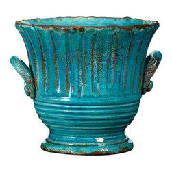 Small Turquoise Striped Planter - I think it would be so fun to fill this beautiful pot with mint and set it on your patio table. Then you and your guests could add a fresh sprig of mint to your iced tea all summer long.