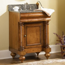 Kaco Guild Hall 24-in. Single Bathroom Vanity with Optional Finish and Counterto - Turn your bathroom into a luxurious haven with the Kaco Guild Hall 24-in. Single Bathroom Vanity with Optional Finish and Countertop. Its vintage appeal is highlighted by its rounded bun feet, framed door, and antique brass hardware. Discover convenient storage in its spacious interiors, which also has an adjustable shelf and removable hardwood drawer. A solid hardwood construction, with water-resistant finish, makes it tough and long-lasting. Additionally, a leveling feature on its legs allows you to steady this vanity on uneven floors.Kaco International's partnering with Sherwin-Williams and its high-end furniture finishing capabilities is undoubtedly a winning combination.About Kaco International Inc. Manufacturing and importing high-quality kitchen islands and bathroom vanities, Kaco international Inc. provides premium top quality products. Hailing from North Carolina with over 30 years of service experience, they bring an unmatchable presence to the industry and strive to keep their customers completely satisfied by providing top-notch service and product quality.