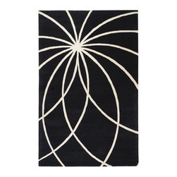 Surya - Surya Forum FM-7072 (Black, White) 6' Round Rug - Bright and bold Retro colors combined with dramatic linear designs give the rugs of the Forum Collection a unique style. Hand Tufted in India from 100% Wool these rugs are soft to the touch while exciting to the eyes. The vivid color combinations and striking patterns make these rugs ideal for contemporary spaces.