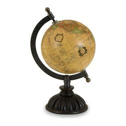 iMax - iMax Colony Globe X-0945 - Mustard Yellow Colony Globe on Mango Wood stand