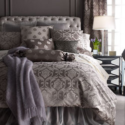 """Horchow - King Damask Duvet Cover, 94"""" x 106"""" - A stunning combination of patterns and textures as well as an array of gorgeous color choices; choose below. Large damask jacquard, medallion foulard, and trellis patterns are cotton/polyester. Dust skirts and matching European sham are polyester organz..."""