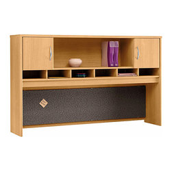 """Bush Business - 2 Door Hutch in Light Oak for 72 in. Credenza - The high, wide & handsome Light Oak Series C 2 Door Hutch for 72 inch Credenza or Desk mounts on any 71 inch wide desk or combination.  The hutch features European-style self-closing left and right-side doors with an open center shelf. * Mounts on two adjacent Lateral Files. Mounts on any 71"""" wide desk or combination. Includes fabric-covered tackboard. Fully finished back panel. Accepts two task lights (not included). Left and right-side doors and open center shelf. European-style, self-closing, adjustable hinges. 70.984 in. W x 15.354 in. D x 42.992 in. H"""