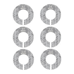 Little Lillybug Designs - Gray & White Herringbone Baby Closet Divider Set - Organize Baby's closet with these fully assembled dividers that are double-sided with a precious design. They're perfect for personal use or as a baby shower gift.   Includes six dividers 3.5'' diameter Plastic Imported