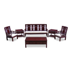 "China Furniture and Arts - Rosewood Longevity Design Sofa Set (6pcs) - Stately in its square form, the majestic presence of this sofa set is further accentuated with the relief carved longevity designs in the center of the chair slat and the simple clean horseshoe design of the feet. Made of solid rosewood and beautifully handcrafted with skillful joinery technique for long lasting durability. They are as pleasant to look and as comfortable to sit on. Long sofa: 74""Wx23""Dx37""H, single armchair: 25""Wx23""Dx37""H, coffee table (48""Wx26""Dx17""H) has three drawers and lamp table (22""Wx22""Dx22""H) with a drawer and a shelf on the bottom for your storage convenience. Hand applied dark cherry finish. Silk cushions included. Please see Fabric Selections for your choice. (6pc/Set)"