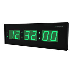 Metro Fulfillment House - eHealthSource Oversized Digital LED Clock (24 inch, Green) - Easy to read in bright sunlight as in darkness Very convenient for the visually challenged, shows clearly the hour, the minute and the seconds AM/PM status with a light underneath the letters No need to be reset if it loses power Powered by AC adapter (included)