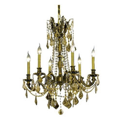 """PWG Lighting / Lighting By Pecaso - Reynard 6-Light 23"""" Crystal Chandelier 7826D23AB-GT-RC - Elegant lighting for gracious living, Reynard Crystal Chandeliers are a lustrous departure in crystal design. Beginning with the solid brass sculptured and finely detailed frame, this series may be dressed in a choice of extraordinarily clear or colored crystal prisms."""