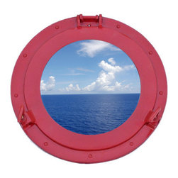 Handcrafted Nautical Decor - Deluxe Class Dark Red Porthole Window 15'' - This Brass Deluxe Class Porthole    Window 15'' - Dark Red  adds sophistication, style, and charm for those       looking  to   enhance       rooms with a nautical theme. This boat      porthole   has a   sturdy,  heavy and      authentic appearance, and is      made of brass and  glass which can easily be hung to grace any    nautical    theme wall. Our nautical   porthole window     makes  a   fabulous style    statement in any room  with    its classic  round        frame, nine    metal-like rivets and two  dog  ears.   This marine    porthole mirror        has an 10'diameter and 3'deep when dog-ears are    attached, 1.5'' deep    without dog ears   attached.----Dimensions: 15'Long x 3'Wide x 15'High--NOTE: This is a decorative porthole window (the    center is clear glass which can be left in port hole or taken out).    Mounting hardware not included with purchase.----    Functional porthole window that will open and close by loosening dog ears--    --    Handcrafted from solid brass and hand-painted a dark red finish by our master artisans--    Decorative yet fully functional port hole window decoration--    Realistic nautical decor - modeled after an antique 19th-century ship's porthole--    --    Great porthole wall decor and an instant conversation piece--