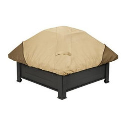 "Classic Accessories - Veranda Square Fire Pit Cover - Veranda Square Fire Pit Cover with the Gardelle Fabric System features an elegant fabric top with a protective water-repellent and resistant PVC undercoating and a protective dark splash guard skirt. Air vents reduce inside condensation and wind lofting. Padded handles for easy fitting and removal. Elastic hem cord with a toggle allows adjustment for a tight and custom fit. Click-close straps snap over legs to secure cover on the windiest days. Fits square fire pits up to 40""W. Not designed to completely cover the leg bottoms."
