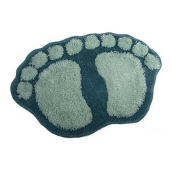 Cartoon BABY FOOT non-slip Bath Mat - This rug is yard dyed not printed. Colors go to the base of rug, instead of just sitting on top. This rug is super soft. Unique high-low cut pile design gives added dimension to the fun dot design. Heavy textured latex rubber backing is non-slip/non-skid for safety in moist environments. This rug will maintain it's loft in the pile over time. Very easy to care for.