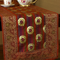 """Elegant Table Runners - """"Luxurious Satin Table Runner"""" Golden Orange color. Unique & colorful with delicate silk with adorable hand embroidered shapes and a bright and delightful Signature Banarsi border. Gold"""