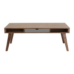 Eurostyle - Daniel Coffee Table-Dk - This coffee table makes an impressive centerpiece for your living room. You get the warm tone, yet the center drawer provides a cool offset. Dual open compartments supply storage for books, magazines and remotes.