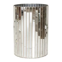 Worlds Away - Worlds Away Round Faceted Antique Mirror Wastebasket with Silver Detailing WBFAC - Worlds Away Round Faceted Antique Mirror Wastebasket with Silver Detailing WBFAC