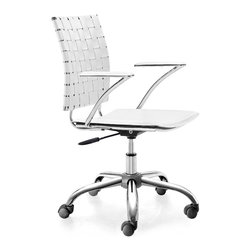 Zuo Modern - Criss Cross Office Chair White - This fun and functional office chair combines a modern and transitional look. The Criss Cross office chair is made with a solid steel chrome frame and base, leatherette straps and seat, and includes an adjustable height feature.