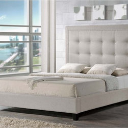 Baxton Studio - Baxton Studio Hirst Light Beige Linen Bed with Upholstered Headboard - Turn in for the night atop a dream of a bed in beautiful upholstery! Hirst is a fashion-focused modern platform bed to suit your favorite bed linens.