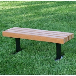 Jayhawk Plastics Trailside Recycled Plastic Commercial Backless Bench - With timeless outdoor design and sturdy commercial quality the Jayhawk Plastics Commercial Trailside Park Bench creates an attractive spot for everyone to rest. Made with 4 x 4 slats of 100% recycled plastic and a heavy-duty powder-coated structural steel base this bench will stand up to the toughest weather. It won't splinter or crack like the old-fashioned wooden park benches so it is completely maintenance-free. Zinc-coated hardware prevents rusting and ensures years of use. Available in cedar green and black finishes in a choice of sizes.About Jayhawk Plastics Inc.Since 1973 Jayhawk Plastics Inc. has been producing quality plastic furnishings at reasonable prices. Their commitment to superior customer service and quality products has helped Jayhawk become an industry leader. All of Jayhawk's benches and outdoor plastic products are made from 100% recycled plastic. This material gives you the best of both worlds: products made entirely of recycled plastic that also have the beauty of natural wood.Jayhawk's benches tables receptacles and other products are maintenance-free vandal-resistant and environmentally friendly. Because they're made of milk jugs pop bottles and many other forms of post-consumer and post-industrial waste these products save trees and reduce landfill usage. Jayhawk's recycled plastic does not need to be sealed painted or stained and cannot rot. Paint will not bond to the surface and pen and marker can be washed off easily with household cleaning solvents. Jayhawk benches are designed to last many years in the outdoor elements in both residential and commercial applications.