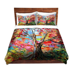 DiaNoche Designs - Duvet Cover Microfiber - Story of the Tree 59 - Super lightweight and extremely soft Premium Microfiber Duvet Cover in sizes Twin, Queen, King.  This duvet is designed to wash upon arrival for maximum softness.   Each duvet starts by looming the fabric and cutting to the size ordered.  The Image is printed and your Duvet Cover is meticulously sewn together with ties in each corner and a hidden zip closure.  All in the USA!!  Poly top with a Cotton Poly underside.  Dye Sublimation printing permanently adheres the ink to the material for long life and durability. Printed top, cream colored bottom, Machine Washable, Product may vary slightly from image.