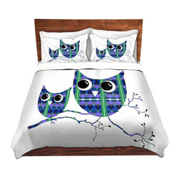 DiaNoche Designs - Duvet Cover Twill by Susie Kunzelman - Owl Suspenders Blue - Lightweight and soft brushed twill Duvet Cover sizes Twin, Queen, King.  SHAMS NOT INCLUDED.  This duvet is designed to wash upon arrival for maximum softness.   Each duvet starts by looming the fabric and cutting to the size ordered.  The Image is printed and your Duvet Cover is meticulously sewn together with ties in each corner and a concealed zip closure.  All in the USA!!  Poly top with a Cotton Poly underside.  Dye Sublimation printing permanently adheres the ink to the material for long life and durability. Printed top, cream colored bottom, Machine Washable, Product may vary slightly from image.