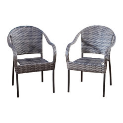 Great Deal Furniture - Rancho Outdoor Brown/Grey Wicker Stackable Chairs (set of 2), Grey - The Rancho stackable outdoor wicker arm chair works great for any outdoor area. Provide extra seating outdoors for your friends and family. This arm chair arrives fully assembled and ready to use.