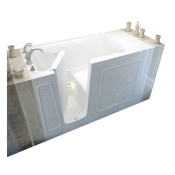Spa World Corp - Meditub 30x60 Left Drain White Soaking Walk-In Bathtub - Meditub's walk-in bathtub offers safety and independence in an elegant package. Featuring safety features such as a built in color matched grab bar, non-slip floor texture and a wide swinging door for easy entering and exiting of the tub. Fusing the industry�s highest standards for quality construction with an inspired artistic vision offering a beautifully glossy finish reinforced with a stainless steel frame and 6 adjustable legs for leveling. Also included is an ADA compliant contoured seat for comfortable support.
