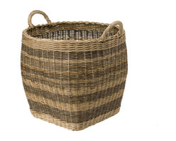 KOUBOO - Striped Wicker Storage Basket, Small - Diameter 18 inches x 16 inches high (18.75 inches with handles).