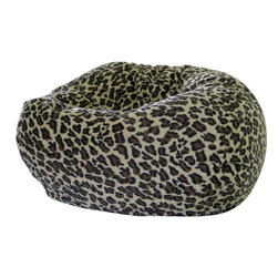 Gold Medal - Gold Medal Jumbo Animal Print Round Bean Bag Chair - This wild animal printed bean bag chair features a furry and sueded, round-shape design constructed with double stitching and a child-safe zipper closure. Filled with super-light expanded polystyrene beads, this cozy bean bag will keep you comfortable.