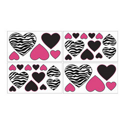 Sweet Jojo Designs - Zebra Pink Wall Decal Set of 4 Sheets by Sweet Jojo Designs - The Zebra Pink Wall Decal Set of 4 Sheets by Sweet Jojo Designs, along with the  bedding accessories.