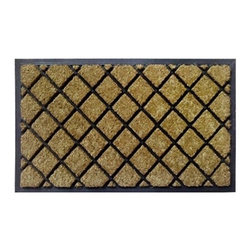 "Creative Accents - Rubber Coir Dirtbuster Door Mat, Lattice Pattern - 18"" x 30"" - This striking, durable mat has thousands of coir bristles embedded in a rubber base that help capture and remove dirt and moisture from shoes. The nonskid rubber backing keeps the coir from shedding and keeps mat in place. This striking, durable mat has thousands of coir bristles embedded in a rubber base that help capture and remove dirt and moisture from shoes."