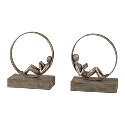 Uttermost - Uttermost Lounging Reader Antique Bookends Set of 2 19596 - These whimsical bookends feature an antiqued silver leaf finish with a light gray glaze.