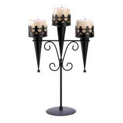 KOOLEKOO - Medieval Triple Candle Stand Candleholder - As a fascinating focus piece or a dramatic decor accent, this stately stand creates a lasting impression! Deep black finish accentuates every shapely detail and creates stunning contrast to a triple candle display.