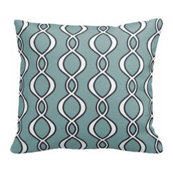 PURE Inspired Design - Twist Organic Cotton Fabric 18  x 18 Pillow in Light Teal/Dark Gray/Natural - Let's do the twist! Invite a bright new twist of color and comfort for your favorite chair or bedroom pillowscape. Made from organic cotton canvas, the pillow has a hidden zipper, with a cozy down insert and clean knife-edge finish.