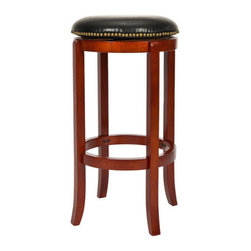"""Safavieh - 24"""" Aiden Counter Stool in Light Cherry - Features: -Finish: Light Cherry / Black Leather. -Material: Malaysian oak and bicast leather. -Nailhead trimmings along the seat. -Give the home décor a polished look. -Seat height: 24"""". -Dimensions: 24"""" Height x 19"""" Width x 18"""" Depth."""
