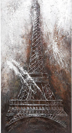 Benzara - Canvas Art Eiffel Tower 79in.H, 40in.W - Size: 40 Wide x 1 Depth x 79 High
