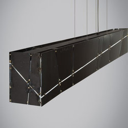 Tech Lighting - Crossroads Linear Suspension - Inspired by the sheen of big city streets and intersections illuminated at night. Composed of sheets of raw steel protected with a clear lacquer coat and accented by brass spot welding at the joints, this suspension fixture has a purposefully imperfect, rugged, industrial design.