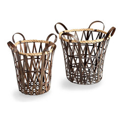 Crusoe Baskets - Patina metal straps and hemp rope give a handsomely varied texture to the Crusoe Basket, an open-walled container that's for entryways and attractive even in formal spaces, with a transitional sense of authenticity and grounded interest. Its softer rim of woven rope keeps contents safely in place; high, looped handles enhance the winning look of practicality.