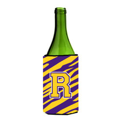 Caroline's Treasures - Monogram - Tiger Stripe - Purple Gold Initial R Wine Bottle Koozie Hugger - Monogram - Tiger Stripe - Purple Gold Letter R Wine Bottle Koozie Hugger CJ1022-RLITERK Fits 750 ml. wine or other beverage bottles. Fits 24 oz. cans or pint bottles. Great collapsible koozie for large cans of beer, Energy Drinks or large Iced Tea beverages. Great to keep track of your beverage and add a bit of flair to a gathering. Wash the hugger in your washing machine. Design will not come off.