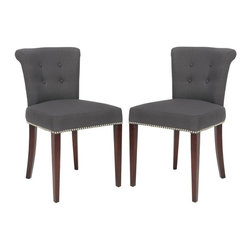 Safavieh - Kotori Dining Chair (Set of 2) - The bent back of the Kotori dining chair, in charcoal fabric with cherry mahogany finish on the legs, gets a classic dressed-up punch thanks to exposed nail heads and cleaver metal ring on its back. Button tufts on the front of the tapered backrest and generous cushions make it a handsome seat.