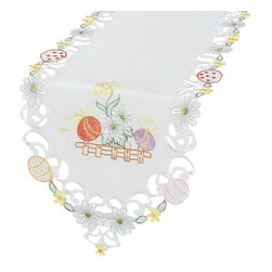 Xia Home Fashions - Country Egg 15 Inch By 54 Inch Table Runner - Colorful Easter Eggs sit happily on a country fence in a field of lovely spring flowers. Charming and cheerful Easter linens!